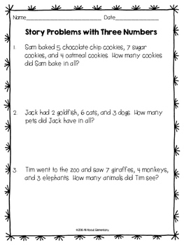 Addition Story Problems with Three Numbers