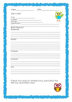 Story Retell Summary Printable