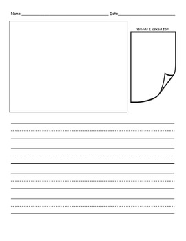 Story writing paper with sticky-note word box