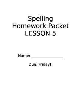 StoryTown Grade 2 Lesson 5 Review week spelling homework packet