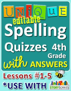 StoryTown Grade 4 – Unique, Editable Spelling Quizzes w/Answers – Lessons #01-05