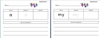 StoryTown Kindergarten High Frequency Word Work