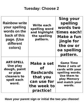 StoryTown Spelling Lesson 10 Homework Packet