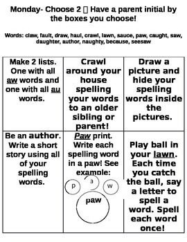 StoryTown Spelling Packet Lesson 27 Grade 2 au and aw words