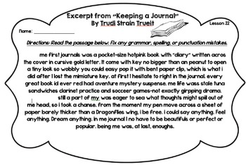 StoryTown Theme 5 - Editing Passages (4th Grade)