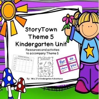 StoryTown Theme 5 Kindergarten Unit - Resources and Center Activities