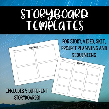 Storyboard Templates For Story, Video, Skit, Project Planning and Sequencing