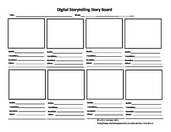 Storyboard for Photostory/MovieMaker/iMovie