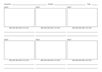 Blank Storyboard Template for filmmaking