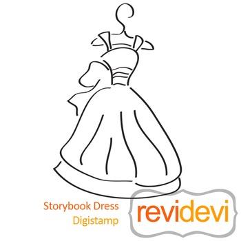 Storybook dress (digital stamp, coloring image) S043