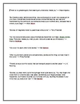 Storytelling Quotes Worksheet