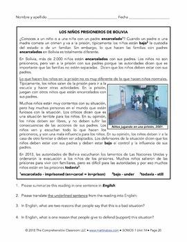 Spanish 1 Storytelling Unit 14: Los niños prisioneros de Bolivia