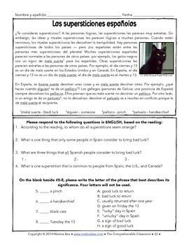 Spanish 1 Storytelling Unit 18: Las supersticiones españolas