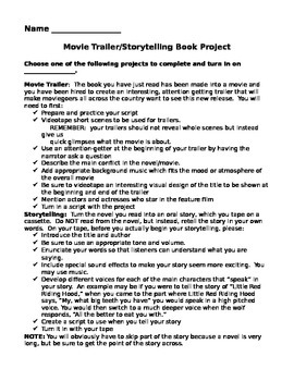 Storytelling/Movie Trailer Book Report/Book Project