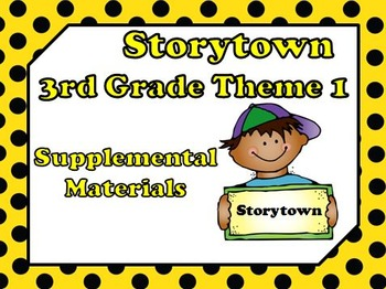 Storytown 3rd Grade Theme 1 School Days Resources