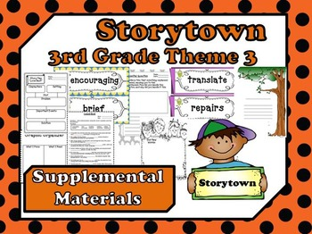 """Storytown 3rd Grade Theme 3 """"As We Grow"""" Resources"""
