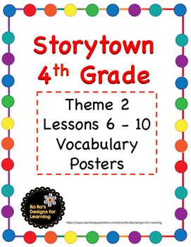 Storytown 4th Grade Robust Vocabulary Posters Theme 2