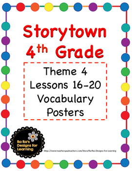 Storytown 4th Grade Robust Vocabulary Posters Theme 4
