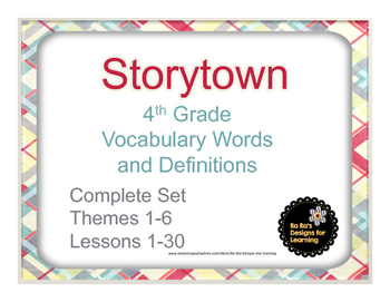 Storytown 4th Grade Robust Vocabulary Words and Definitions Cards