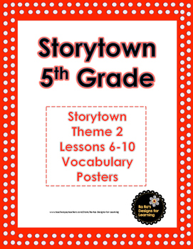 Storytown 5th Grade Robust Vocabulary Posters Theme 2