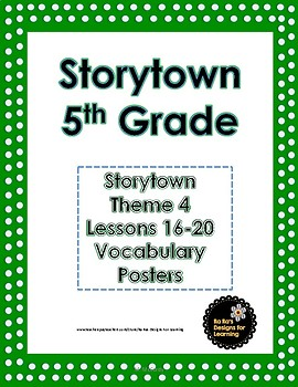 Storytown 5th Grade Robust Vocabulary Posters Theme 4