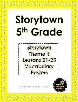 Storytown 5th Grade Robust Vocabulary Posters Theme 5