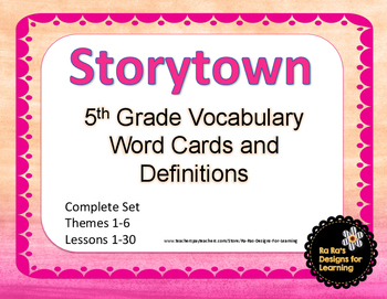 Storytown 5th Grade Robust Vocabulary Words and Definitions Cards