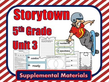 """Storytown 5th Grade Theme 3 """"Go With the Flow"""" Resources"""