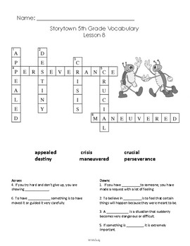 Storytown 5th Grade Vocabulary Crossword Puzzles Lessons 1 - 30