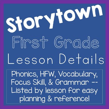 Storytown First Grade Lesson Details List