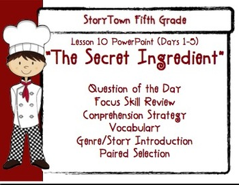 """Storytown Grade 5 Lesson 10 """"The Secret Ingredient"""" Weekly PowerPoint"""
