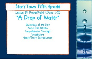 """Storytown Grade 5 Lesson 14 """"A Drop of Water"""" Weekly Powerpoint"""