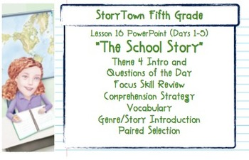 """Storytown Grade 5 Lesson 16 """"The School Story"""" Weekly PowerPoint"""