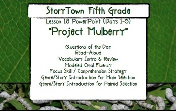 """Storytown Grade 5 Lesson 18 """"Project Mulberry"""" Weekly Powerpoint"""