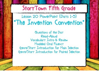 """Storytown Grade 5 Lesson 20 """"The Invention Convention"""" Weekly Powerpoint"""