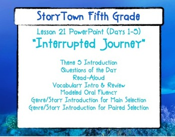 """Storytown Grade 5 Lesson 21 """"Interrupted Journey"""" Weekly PowerPoint"""