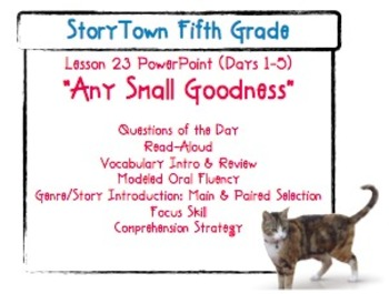"""Storytown Grade 5 Lesson 23 """"Any Small Goodness"""" Weekly Po"""