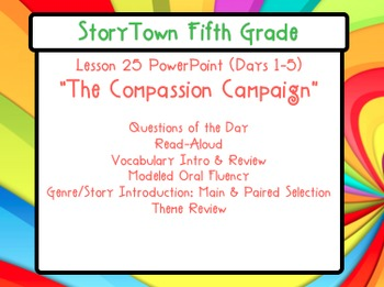 """Storytown Grade 5 Lesson 25 """"The Compassion Campaign"""" Weekly PowerPoint"""