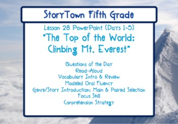 """Storytown Grade 5 Lesson 28 """"Top of the World, Mt. Everest"""" Weekly PowerPoint"""