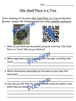 Storytown Instant QR Code Listening Center, Lesson 14: One Small Place in a Tree