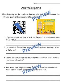 Storytown Instant QR Code Listening Center, Lesson 15: Ask the Experts