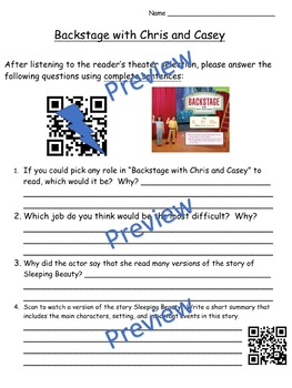 Storytown Instant QR Code Listening Center, Lesson 20:  Backstage with Chris...