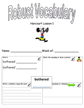 Storytown Lesson 1 Robust Vocabulary Graphic Organizer - No Prep