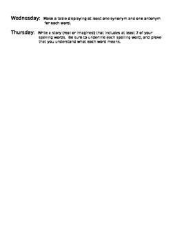 Storytown Lesson 11 Spelling Homework and Pretest Grade 5
