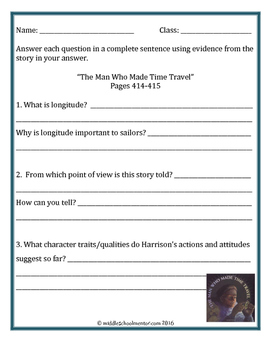 Storytown Man Who Made Time Travel Activity Packet: Vocabulary, Writing & More