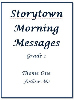 Storytown Morning Messages, Grade 1, Theme 1