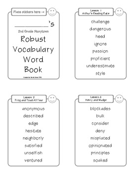Storytown Robust Vocabulary Words Book