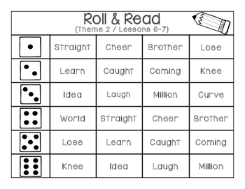 Storytown Roll & Read High Frequency Word Activity- Grade 2