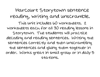 Storytown Sentence reading, writing and decoding