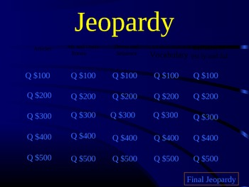 Storytown Series: Me and Uncle Romie Jeopardy